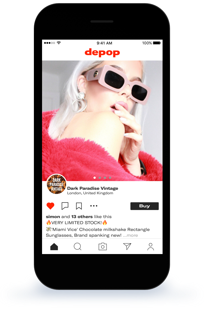 Depop app screen